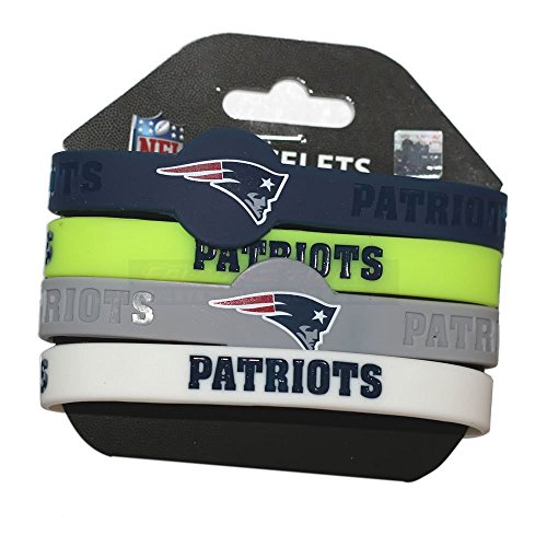 aminco NFL New England Patriots Silicone Bracelets, 4-Pack (New England Super Bowl 49 Pin)