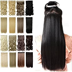 13colors Synthetic Fiber Clips in on Hair Extension Dark Black 3/4 Full Head One Piece 5 Clips Long Straight Curly Wavy 30 Inches150G Jet Black