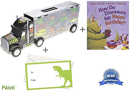 Dinosaur Car Transport Truck Complete With 'How Do Dinosaurs Say Happy Birthday' Board Book - The Perfect Gift by Paisti
