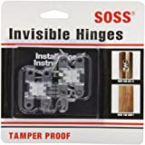 SOSS Mortise Mount Invisible Hinges with 4 Holes, Zinc, Satin Chrome Finish, 1-11/16'' Leaf Height, 3/8'' Leaf Width, 29/64'' Leaf Thickness, #5 x 3/4'' Screw Size (1 Pair)