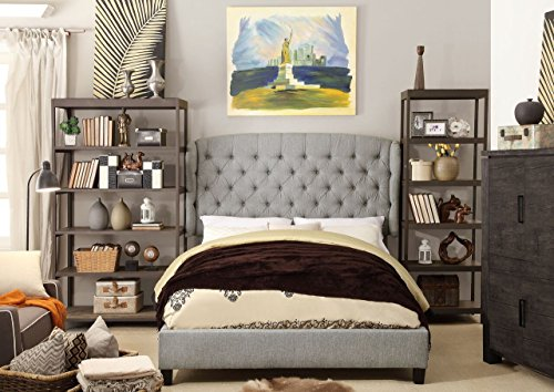 Millbury Home Feliciti Tufted with Wings Upholstery Platform Bed, Queen, Gray