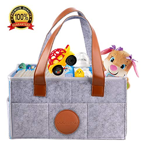 Baby Diaper Caddy Organizer - Portable Nursery Diaper Tote - Felt Diaper Storage Bin - Baby Shower Gift Basket for Car Travel Changing Table,Newborn Registry Must Haves