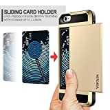iPhone SE Case, Vofolen Slidable Card Slot iPhone SE Wallet Case Protective Shell iPhone 5S Case Card Holder Rubber Bumper Armor Anti-scratch Hard Case Cover for iPhone SE 5 5S