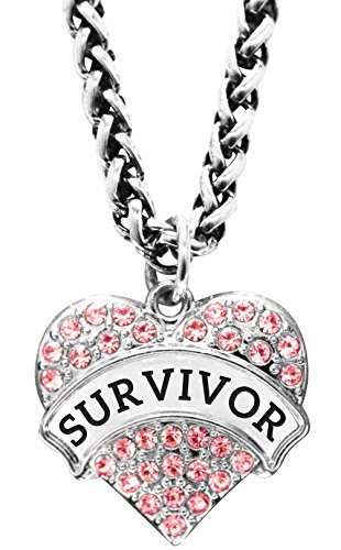 - Breast Cancer Awareness Gift Survivor Necklace Support Engraved Crystal Adorned Heart Shaped Pendant Wheat Chain Necklace Jewelry Gift Cancer Patient Pink