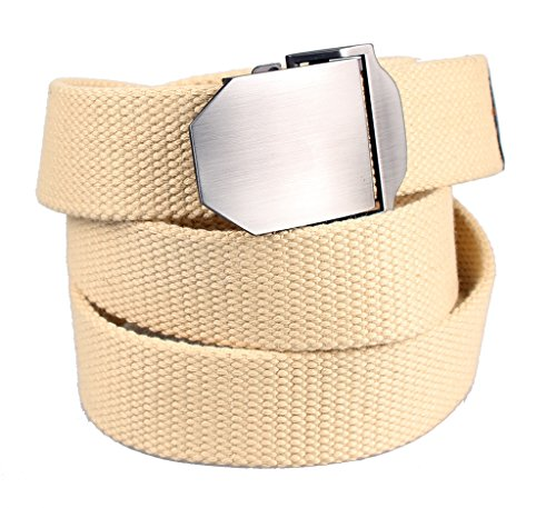 ALAIX Outdoor Military Style Cotton Braided Adjustable Belt 1.5'' With Antique Brass Buckle B1148 - Big Brass Buckle