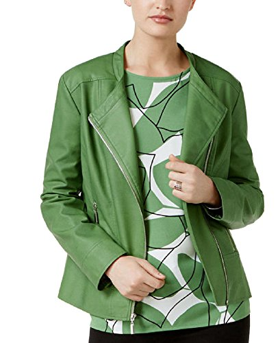 Alfani Petite Faux-Leather Moto Jacket (Willow Bough, PXS) (Alfani Womens Jacket)