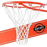 Ultra Heavy Duty Basketball Net Replacement - All Weather Anti Whip Fits Standard Indoor or Outdoor Rims - White 12 Loops
