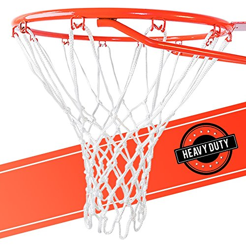 (Ultra Heavy Duty Basketball Net Replacement - All Weather Anti Whip, Fits Standard Indoor or Outdoor Rims - White, 12 Loops)