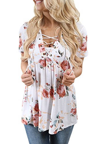 Alvaq-Womens-Summer-Short-Sleeve-V-Neck-Floral-Print-Lace-Up-Blouses-Top