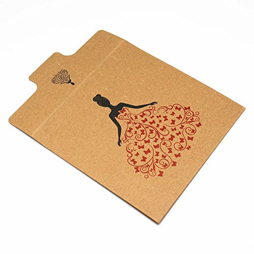 "12.5x12.5cm (4.9""x4.9"") Kraft Paper CD DVD Packaging Bag Storage Box Retail CD Case Cover Holder Envelope For Wedding Birthday Party CD Packaging Bag (30, Princess)"