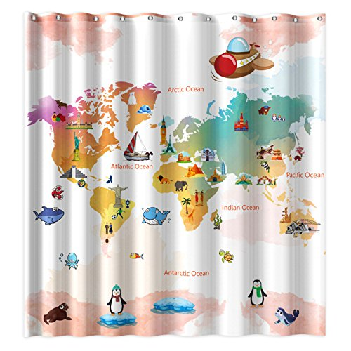 Wimaha World Map Shower Curtain, Water-repellent Fabric