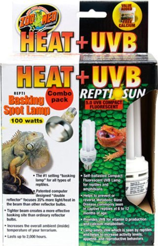 Lamp Combo - Zoo Med Heat and UVB Basking Spot Lamp and Reptile Sun Fluorescent Combo Pack