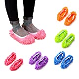 HooAMI 10pcs (5 Pairs) Washable Dust Mop Slippers Shoes Cover,Multi Function Soft Reusable Microfiber Floor Cleaning Shoes for Bathroom Office Kitchen House Polishing Cleaning