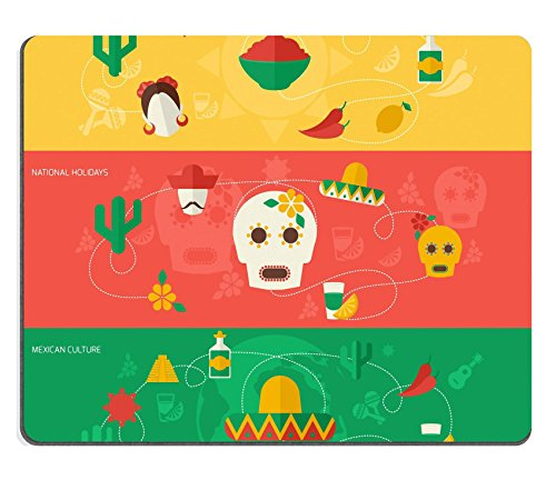 MSD Mouse Pad Natural Rubber Mousepad IMAGE ID 34738005 Mexico travel flat banner set with mexican cuisine national holidays culture isolated vector illustration (Aztec Bookmark)