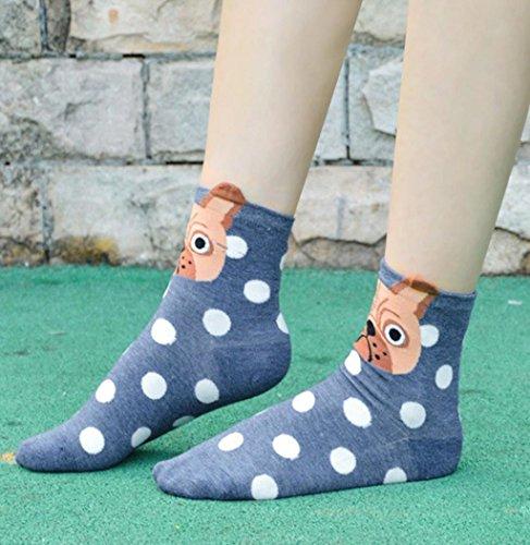 Calze Animali Svegli Del Fumetto, Donne Di Sagton Impronte Di Gatto Cotone Low Cut Floorocks Crew Socks Navy