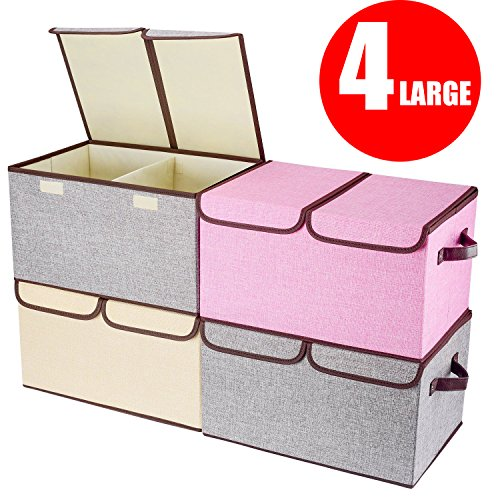 "senbowe Larger Storage Cubes [4-Pack] Linen Fabric Foldable Collapsible Storage Cube Bin Organizer Basket with Lid, Handles, Removable Divider For Home, Office, Nursery, Closet – (17.7 x 11.8 x 9.8"")"