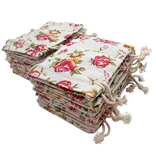 FASOTY 24 Pack Roses Pattern Double Drawstring Linen Bags Burlap Bags with Drawstring Gift Bags Jewelry Pouch for Wedding Party and DIY Craft 3.7 X 5.2 (Vintage Linen Burlap Roses)