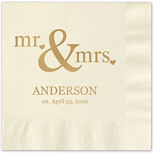 (Canopy Street Mr & Mrs Hearts Personalized Beverage Cocktail Napkins - 100 Ivory Ecru Paper Napkins with Choice of foil)