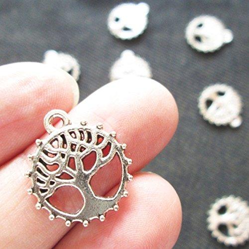 Np Supplies 10 Pcs Tree of Life Tibetan Round Circle Silver Charm (NS190)