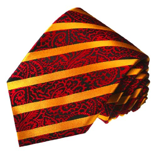 LORENZO CANA - Luxury Italian 100% Silk Tie Red Black Gold Paisley Striped - 84452