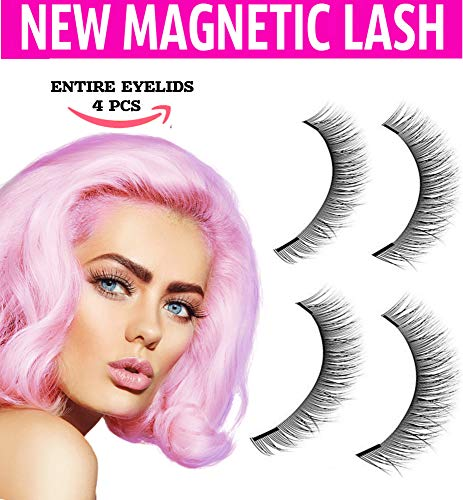 Dual Magnetic False Eye Lashes [No Glue] 3D Eyelashes Premium Magnet Quality False Eyelashes Set for Natural Look Full Eye by Hot Pink