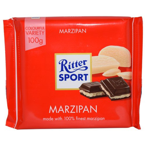 Ritter Sport Bars, Dark Chocolate with Marzipan, 3.5 Ounce (4 pack)