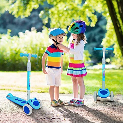 TONBUX Scooters for Kids Ages 3-8, Kids Scooter for Toddlers, Boys and Girls Scooter with Light Up 3-Wheels, Mini Scooter for Children, for Ride On Toys - Blue Cat Design