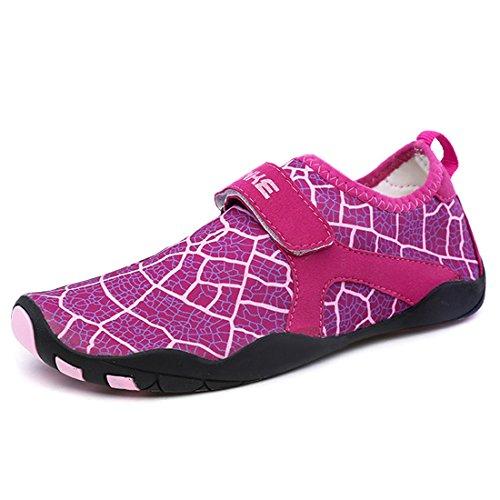 Cool&D Aquaschuhe Aqua Schuhe Wasserschuhe Fitness Schuhe Atmungsaktiv Strandschuhe Schwimmschuhe Badeschuhe Surfschuhe für Damen Herren Kinder Rose