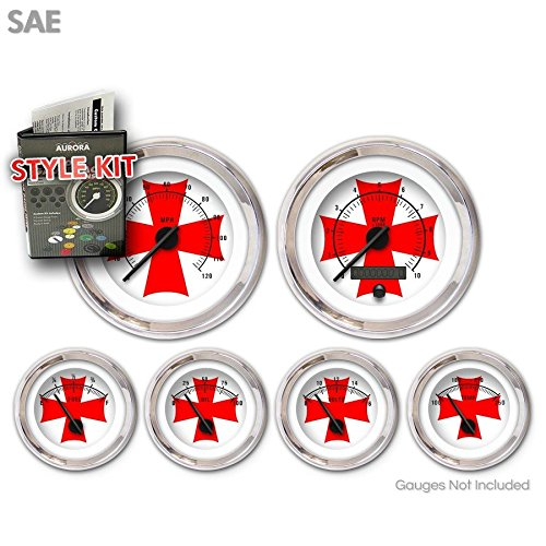 Aurora Instruments 1681 Iron Cross White Red Cross SAE Style Kit Black Modern Needles, Chrome Trim Rings