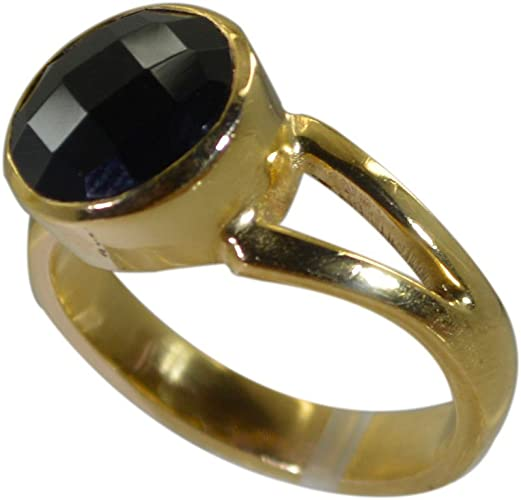 Genuine Black Onyx Ring Gold Plated Round Shape Ckecker Cut Astrological Size 5,6,7,8,9,10,11,12