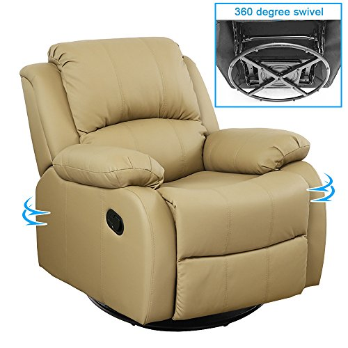 Full Leather Swivel Glider Recliner (Dland Luxurious Home Theater Seating Recliner Chair 360 Degree Swivel Manual Leather Reclining Sofa Living Room Chairs, Light Brown 8001)