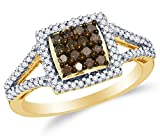 chocolate diamond gold ring - Size 7 - 10K Yellow Gold Chocolate Brown & White Round Diamond Halo Circle Engagement Ring - Channel Set Square Princess Center Setting Shape (1/2 cttw.)