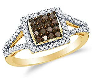 Size 4.25 - 10K Yellow Gold Chocolate Brown & White Round Diamond Halo Circle Engagement Ring - Channel Set Square Princess Center Setting Shape (1/2 cttw.)