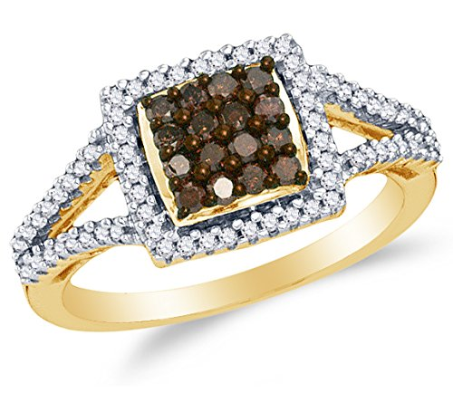 Size 7 - 10K Yellow Gold Chocolate Brown & White Round Diamond Halo Circle Engagement Ring - Channel Set Square Princess Center Setting Shape (1/2 (White Diamond Circle Ring)