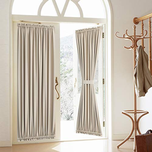Rose Home Fashion Blackout Door Curtain, Elegance French Door Curtains for Privacy, Thermal Insulated Door Curtain Panels, Room Darkening Door Window Curtain (50