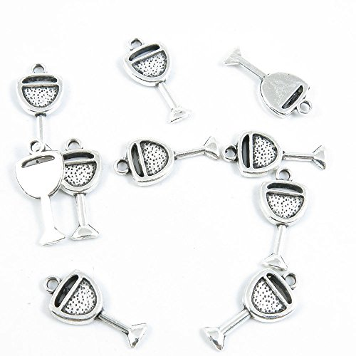 160 Pieces Silver Tone Jewelry Making Charms Supply Findings Wholesale Supplies H2WJ1 Wine Juice Cup Glass ()
