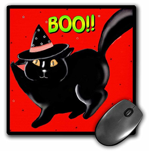 3dRose Dawn Gagnon Photography Halloween Designs - Halloween Black Boo Kitty Red, Cute little Halloween kitten with red background and black border - MousePad (mp_153698_1)