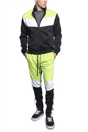 G Style Usa Men's Side Stripe Zipper Jacket Drawstring Waistband Tracksuit by G Style Usa