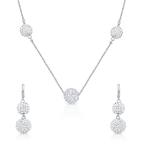 Oviya Rhodium Plated Necklace Set With Crystal Stone for Women NL2103105R Women's Jewellery Sets at amazon