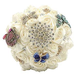 Abbie Home Ivory Silk Rose Bouquet for Bridal Crystal Rhinestone Décor Wedding Bouquets 49