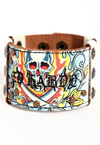 Ed Hardy Hot Mens Flaming Skull Leather Wristband EH5049
