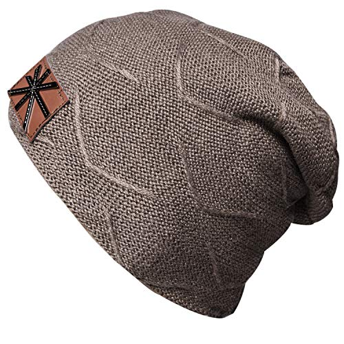 YSense Mens Winter Cable Knit Fleece Lined Beanie Hats, Warm Slouchy Thick Skull Cap Khaki
