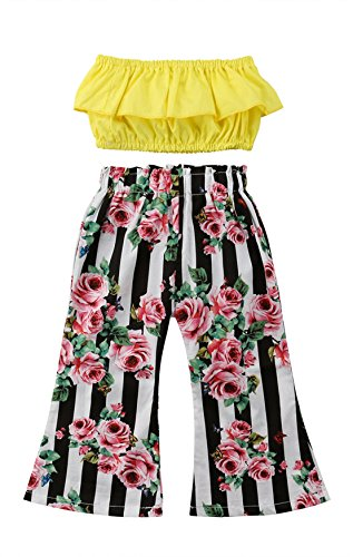 Baby Kids Girl Off-Shoulder T-Shirt Top + Long Flare Pants Ruffled Short-Sleeve Outfit Clothes Set (Yellow, - Flare Kids