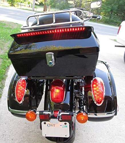 Universal Motorcycle Trunk Tour Pack Tail Box Luggage For Harley Road King Steet Road Glide Fatboy Softail Honda Yamaha Cruiser Universal w/Top Rack & Backrest & TailLight ROKEX ROK-MB-YMD001
