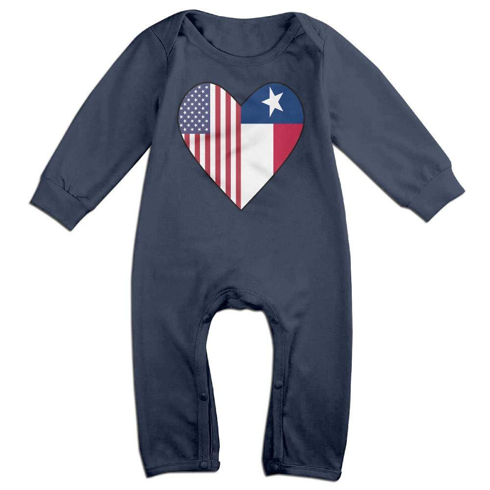 Half Texas Flag Half USA Flag Love Heart Long Sleeve Newborn Baby Romper Jumpsuit Onsies for 6-24 Months Bodysuit