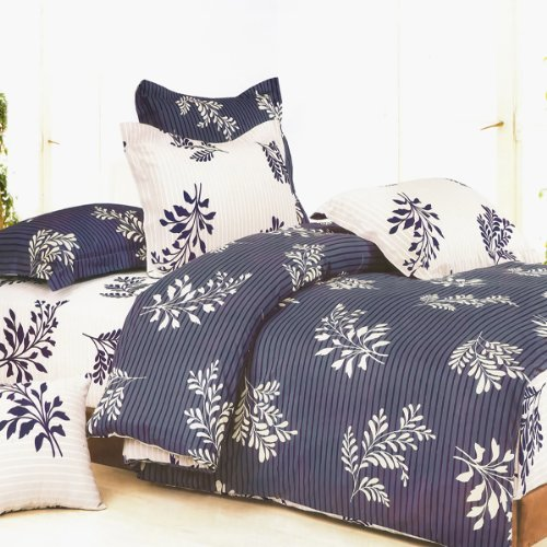 Blancho Bedding - [Purple Gray Flourish] 100% Cotton 3PC Comforter Cover/Duvet Cover Combo (Twin Size)