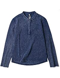 Generic Men's Fashion Crew-Neck Button Denim Long Sleeve T-Shirt