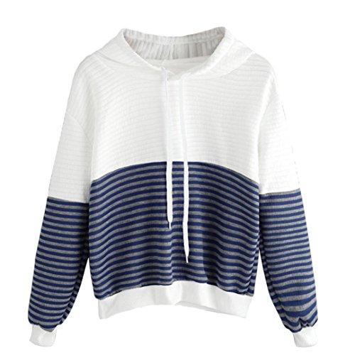 [해외]Exteren Womens Print Floral Stripe 루스 캐쥬얼 긴 소매 끌기 후드 티 스웨터 점퍼 풀오버 ??탑스/Exteren Womens Print Floral Stripe Loose Casual Long Sleeve Drawstring Hoodie Sweatshirt Jumper Pullover Tops