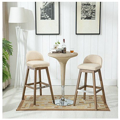 Chairus Counter Height Bar Stools Set, Fabric Upholstered Modern Dining Distressed Indoor & Outdoor Bar Stool Chair with Low Back & Wood Legs for Dining Room, Kitchen, Bar Counter - ()