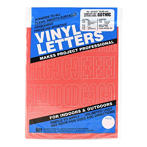 Duro Vinyl Letters, Complete Set Letters & Numbers, Gothic, No. 3215, 2 inch -